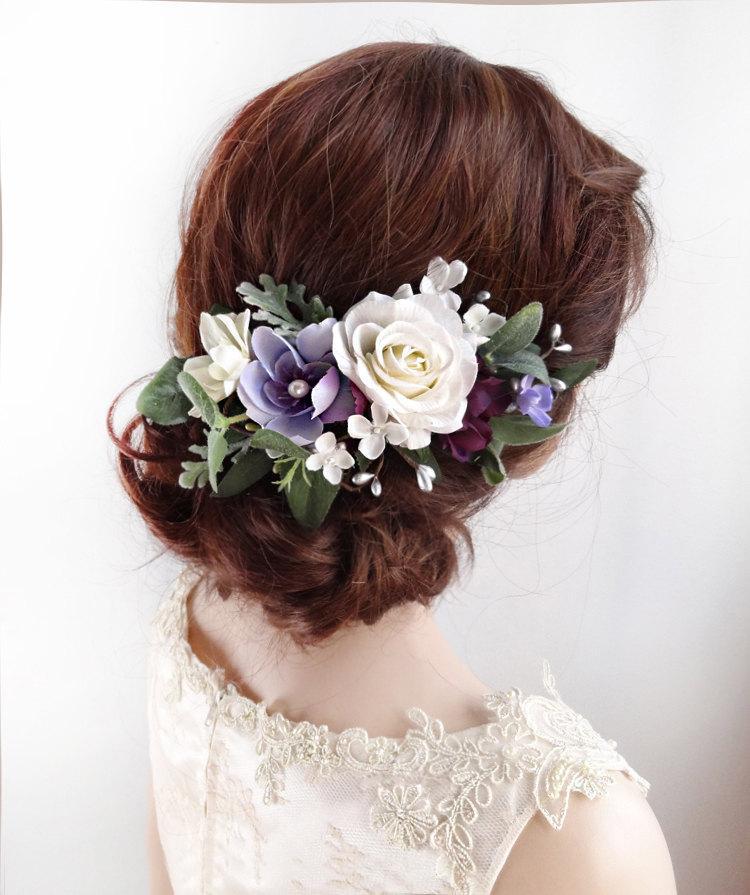 Свадьба - purple hair clip, white flower hair clip, floral hair comb, purple hair flower, floral hair clip, white rose hair clip, purple headpiece