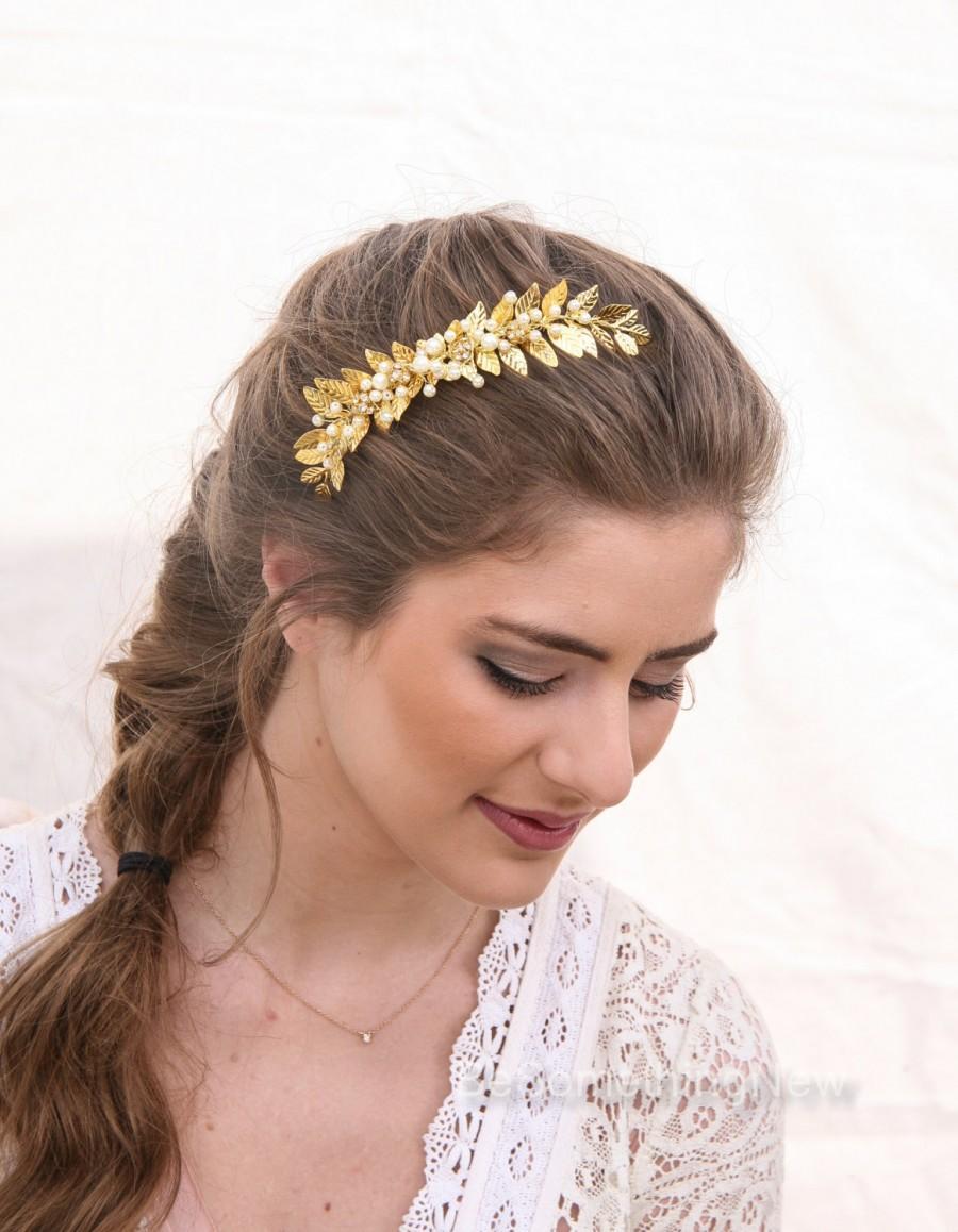 زفاف - Wedding Decorative Comb Gold Leaf and Pearl Bridal Hair Comb, Grecian Leaf Wedding Hair Comb Brass Bridesmaids Hair Decoration, Laurel Leaf