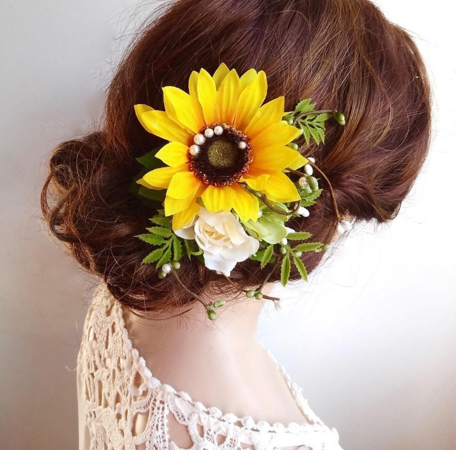 زفاف - sunflower hair clip, sunflower hair comb, yellow flower hair clip, sunflower wedding, rustic wedding hair accessories, yellow headpiece