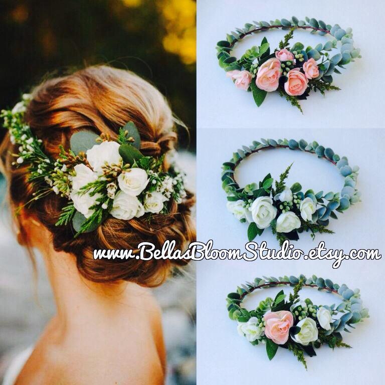 زفاف - Succulent Crown  Greenery Crown  Eucalyptus crown  Adult flower crown  Cream Flower crown Succulent Succulent Bridal Halo Etsy
