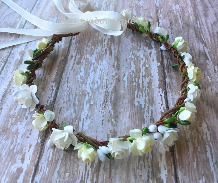 Hochzeit - Ivory flower crown, flower girl crown, flower crown wedding, ivory flower girl headband, flower wreath for hair, bridesmaid flower crown