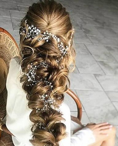 زفاف - Crystal and Pearl hair vine, Babys breath hair piece, Wedding hair accessories, Wedding hair vine, Bridal hair vine, Bridal hair accessories