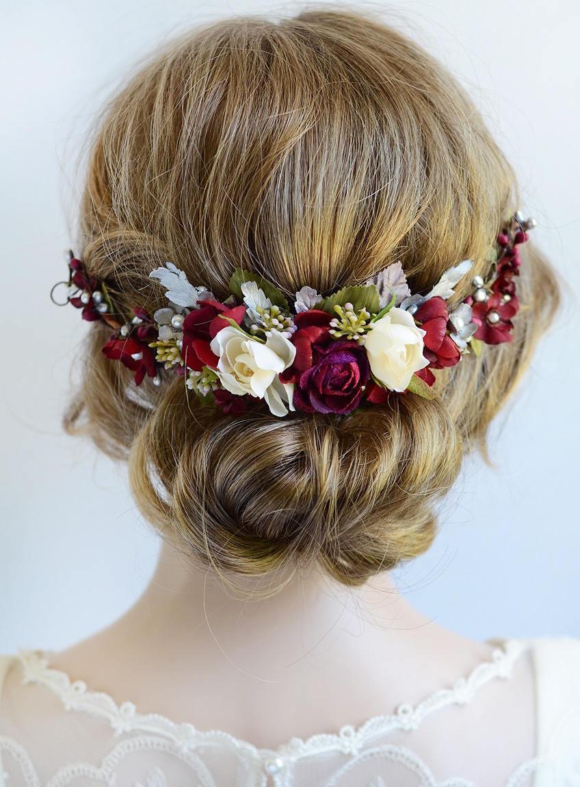 زفاف - burgundy headpiece, floral hair piece, burgundy and silver hair clip, bridal headpiece, burgundy hair flower, silver wedding, red rose