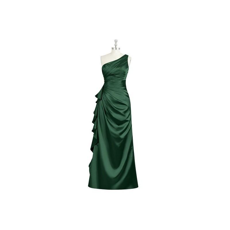 Wedding - Dark_green Azazie Kamila - One Shoulder Charmeuse Side Zip Floor Length Dress - Simple Bridesmaid Dresses & Easy Wedding Dresses