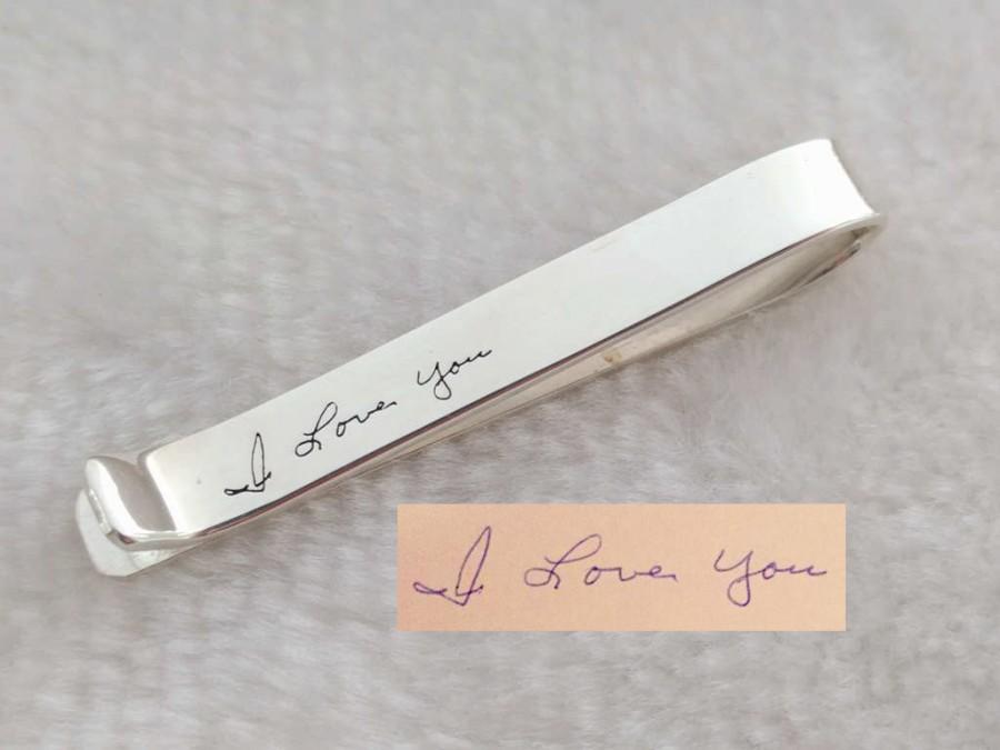 Mariage - Custom Handwriting Tie Clip,Memorial Signature Tie Bar Clip,Handwritten Hidden Message Tie Clip,Handwritten Tie Tack,Father's Day Gift