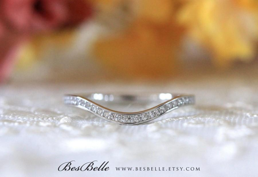 زفاف - 0.25 ct.tw Curve Wedding Ring-Brilliant Cut Micro Pave Diamond Simulant-Half Eternity Ring-Stackable Band Ring-Sterling Silver [7254H]