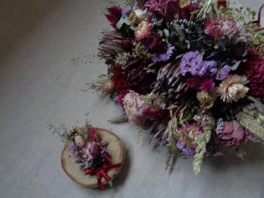 Hochzeit - Woodland dried flower bridal wedding bouquet with protea peony roses and natural wildflowers rustic wedding bouquet with matching buttonhole