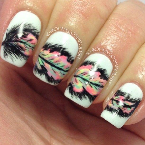 زفاف - Creative Feather Nail Art Designs