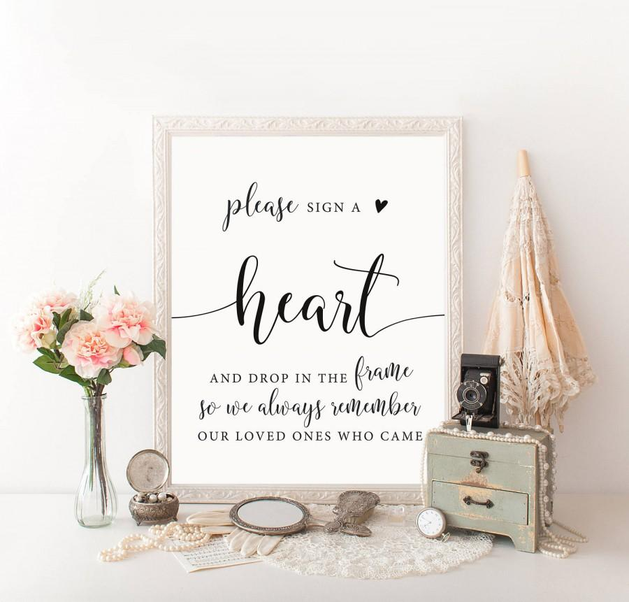 Mariage - Heart Drop Guest Book, Heart Guestbook, Drop A Heart In Frame Signage, Drop Hearts, Please Sign A Heart Printable, Heart Drop Box Sign