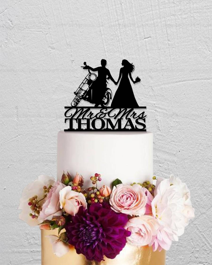 Mariage - Motorcycle wedding cake topper,Mr And Mrs Cake Topper,Bride And Groom Cake Topper,Custom Cake Topper,Personalized Cake Topper,Motorbike