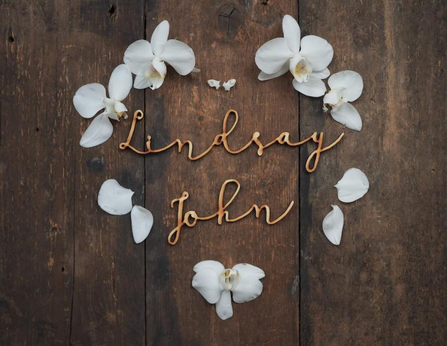 Mariage - SET of 2 names, personalised, wedding names, laser cut plywood, wooden decor, unfinished wood, unpainted, wall sign, laser cut, lasercut