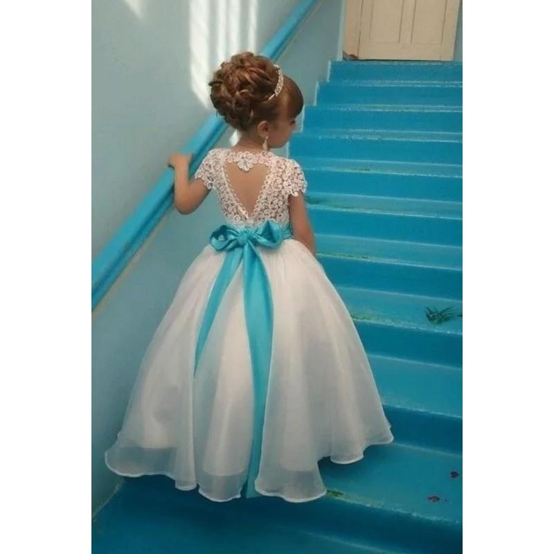 7829c2165d1 Lace Flower Girl Dress With Cap Sleeves