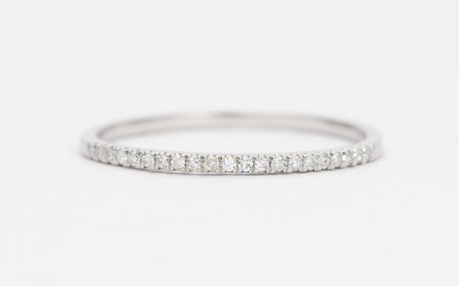 Platinum Diamond Micro Pave Wedding Band 1mm 1 2mm Thin Ring Half