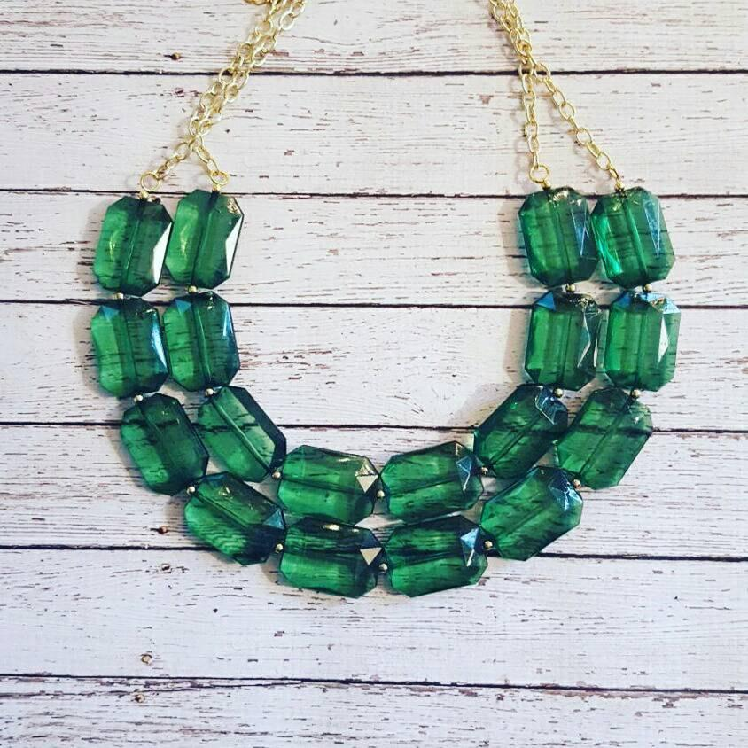 Свадьба - FREE EARRINGS, Emerald Green Transparent Chunky Statement Bib Necklace...Purchase 3 or more get 10% off