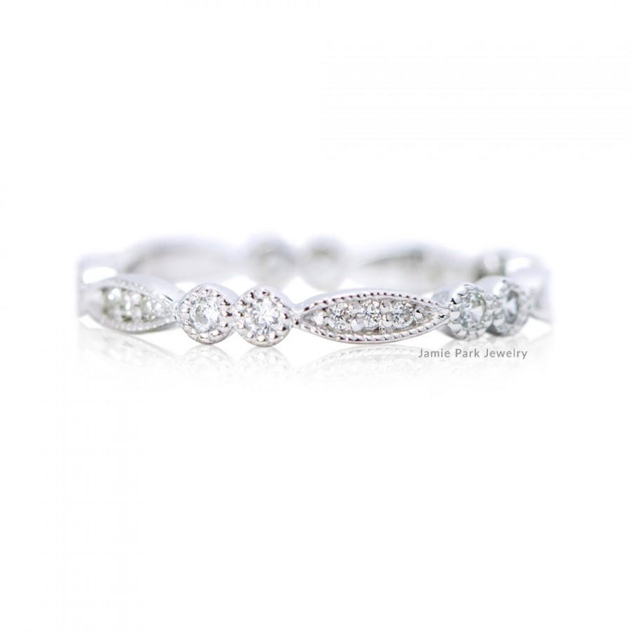 Свадьба - Eternity Ring, Engagement Ring, Wedding Band, Wedding Ring, Diamond Ring, Deco Ring, Milgrain Ring, Solid Gold Ring, Stacking Ring,