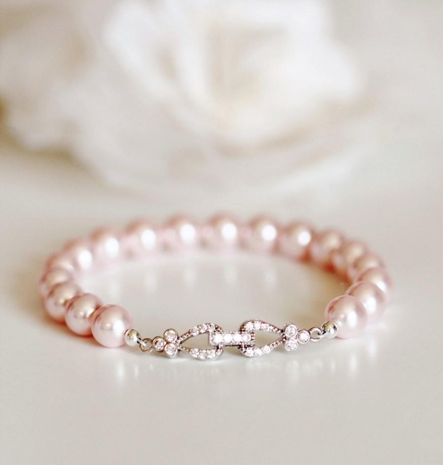 Свадьба - Blush Pink Pearl Bracelet Blush Wedding Jewelry Bridesmaid Gift Bracelet Bridesmaid Jewelry Pink Bridesmaid Bracelet Pearl Bridal Bracelet
