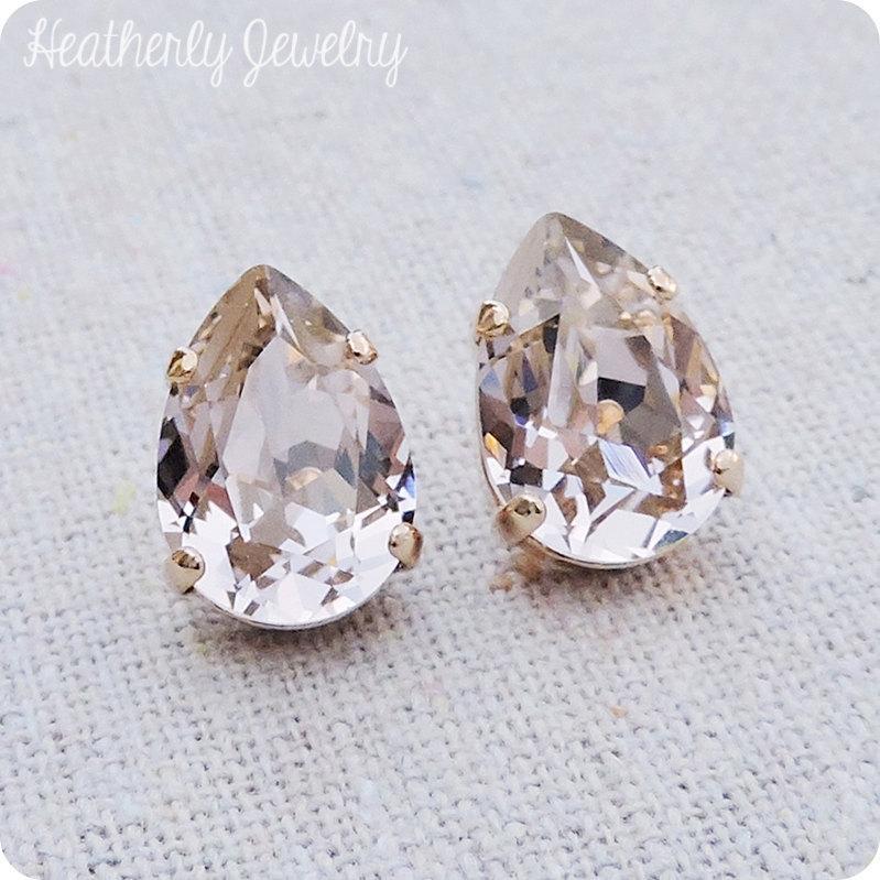 Свадьба - Swarovski Blush Pink Crystal Teardrop Rhinestone Pear Rose Gold Post Earrings Wedding Bridal Jewelry Bridesmaids Presents Gift for Her