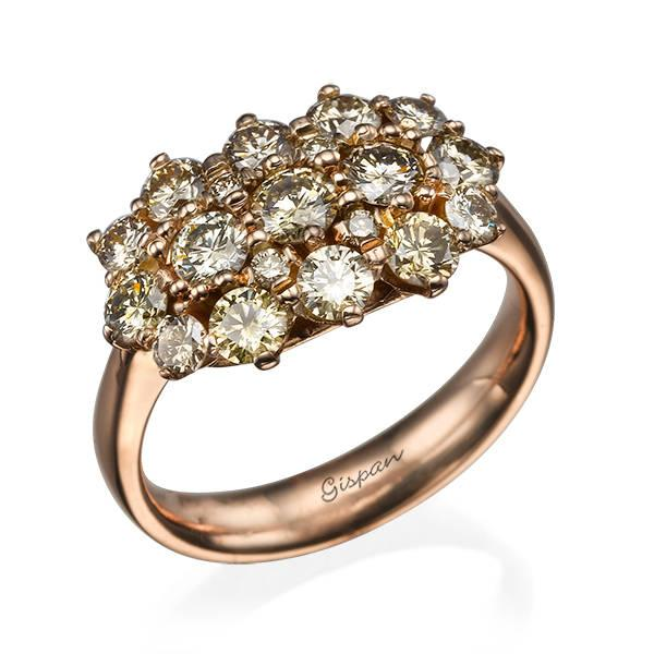 Свадьба - Rose Gold Engagement Ring, Promise Ring Rose Gold, Vintage Wedding Ring, 14k Gold Ring, Champagne Ring, Cocktail Ring, Diamond Ring