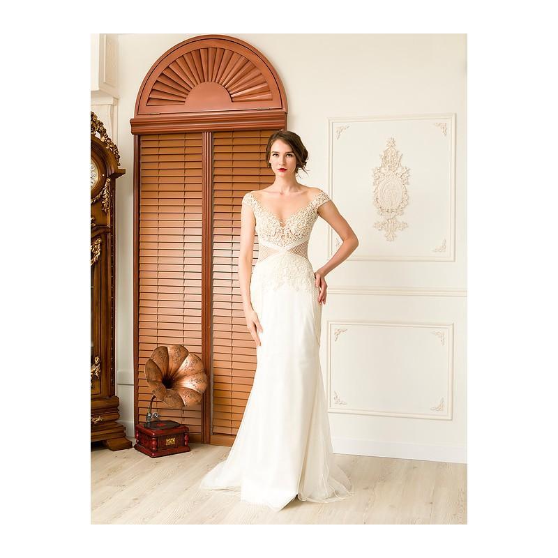 Свадьба - Rania Hatoum Spring/Summer 2018 Kelly Vintage Court Train Satin Ivory Sheath Cap Sleeves Illusion Beading Bridal Dress - Fantastic Wedding Dresses