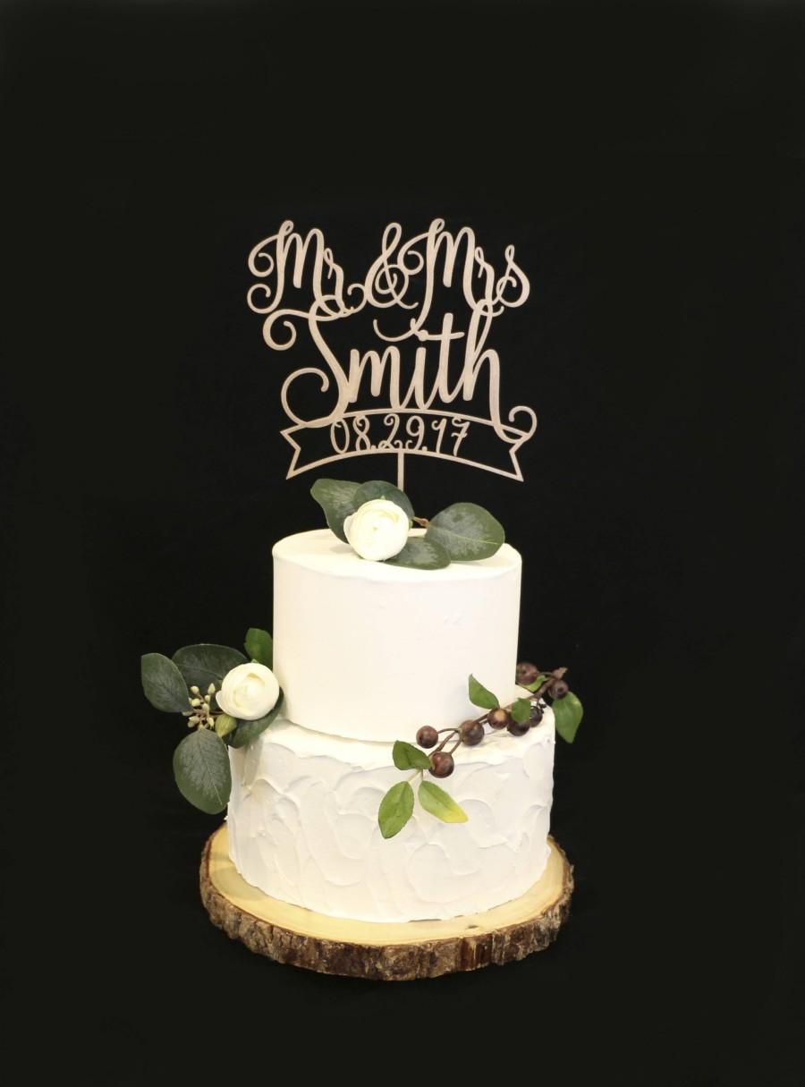 Свадьба - Custom Wood Rose Metallic Gold Wedding Cake Topper With Date