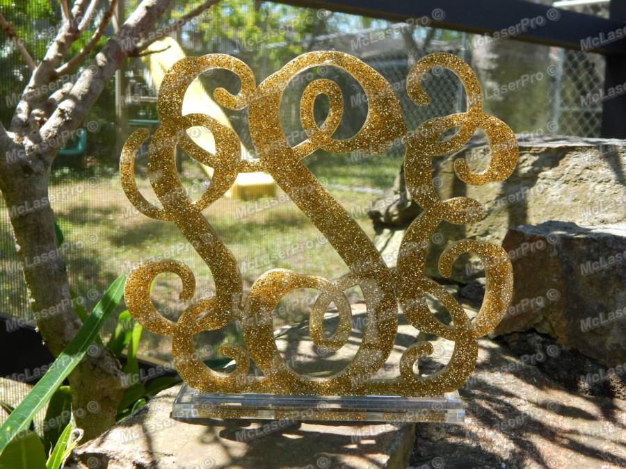 Свадьба - Custom Wedding Monogram Personalized Cake Topper gold glitter