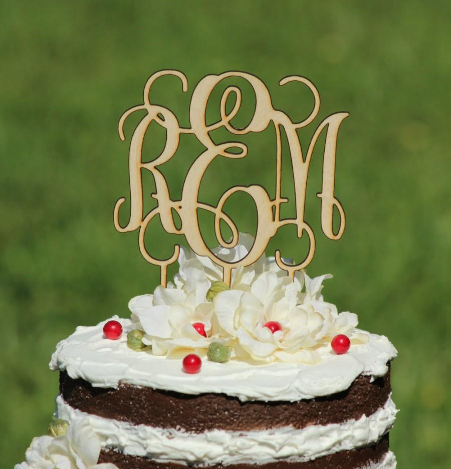 Свадьба - Rustic Wooden Monogram Wedding Cake topper - Wooden cake topper - Personalized Cake topper
