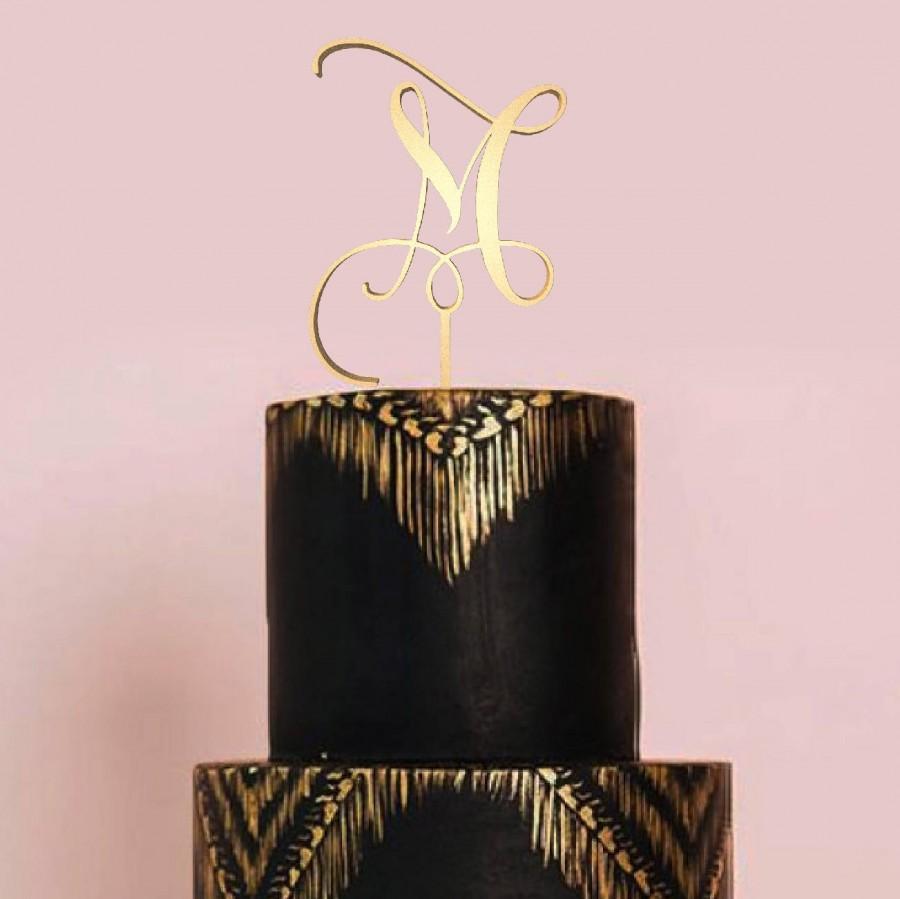 Свадьба - Letter M Monogram Cake Topper, Letter Cake Topper, Wedding Cake Topper, Custom Cake Topper, Wedding Monogram, Glitter Cake Topper, Gold Cake