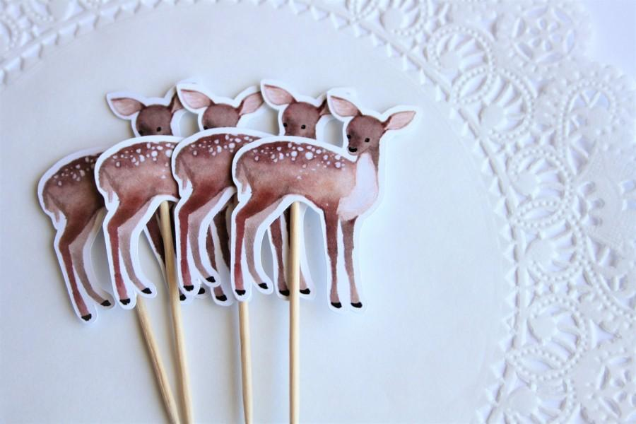 Свадьба - Baby Deer Cupcake Toppers. Woodland Theme. Deer Theme. New Baby. Baby Shower. Birthday Party. First Birthday. Woodland Animals. Cake Topper