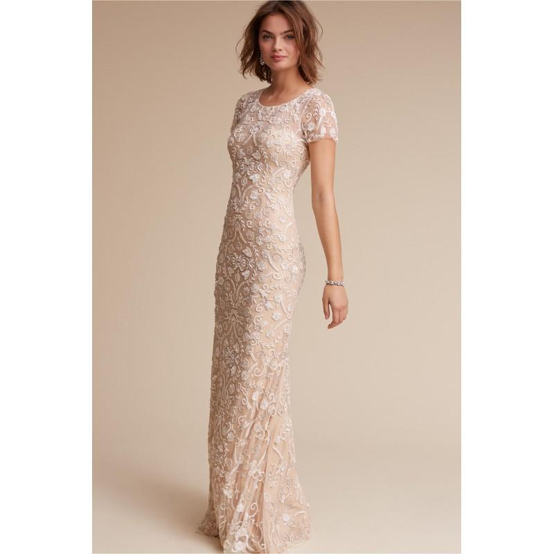Свадьба - BHLDN Spring/Summer 2017 Essex Floor-Length Elegant Blush Beading Tulle Scoop Neck Fit & Flare Short Sleeves Bridal Dress - Color Your Classy Wardrobe