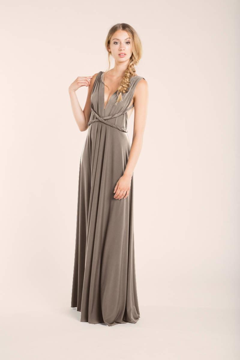 Taupe Bridesmaid Dress, Taupe Long Dress, Pale Brown Infinity Dress ...
