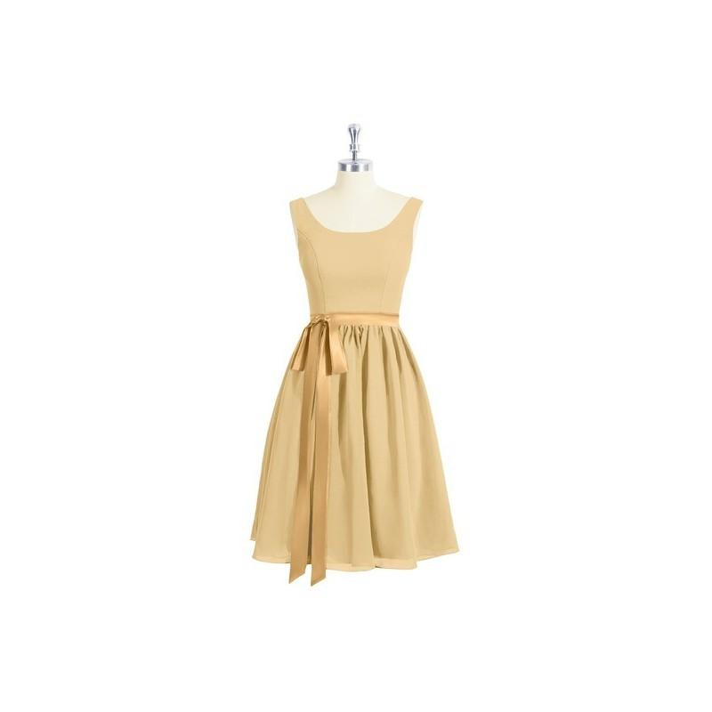 Wedding - Gold Azazie Mila - Scoop Scoop Chiffon And Charmeuse Knee Length Dress - Simple Bridesmaid Dresses & Easy Wedding Dresses