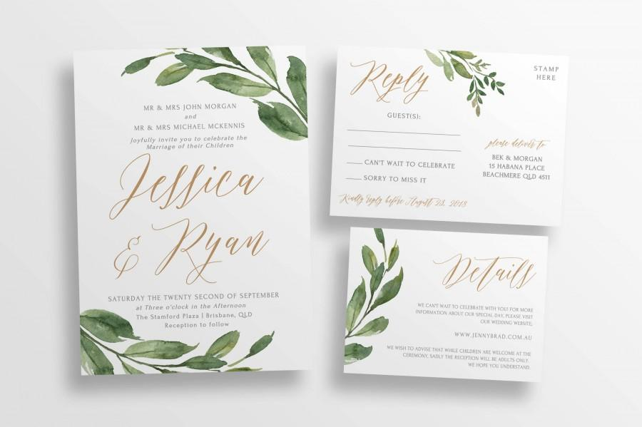 Greenery Wedding Invitation Suite DIY Editable Wedding Invitations ...
