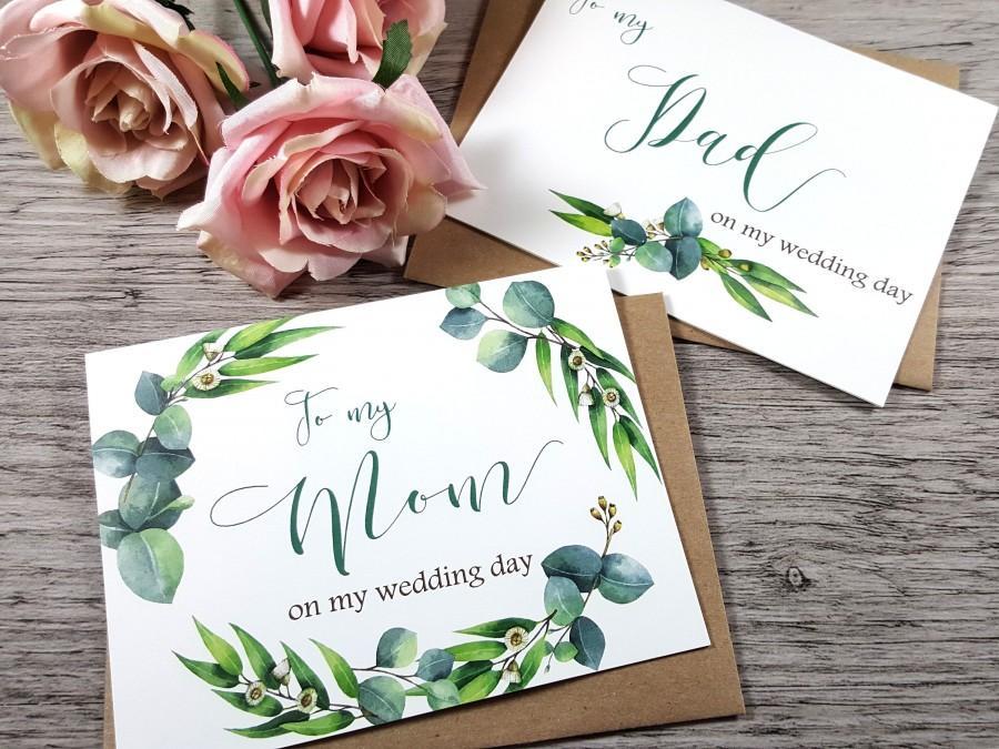 زفاف - Set of 2, To My MOM Card, To My DAD Card, Mother of the Bride Card, Father of the Bride Card, Mother Card, Father Card, Greenery Wedding