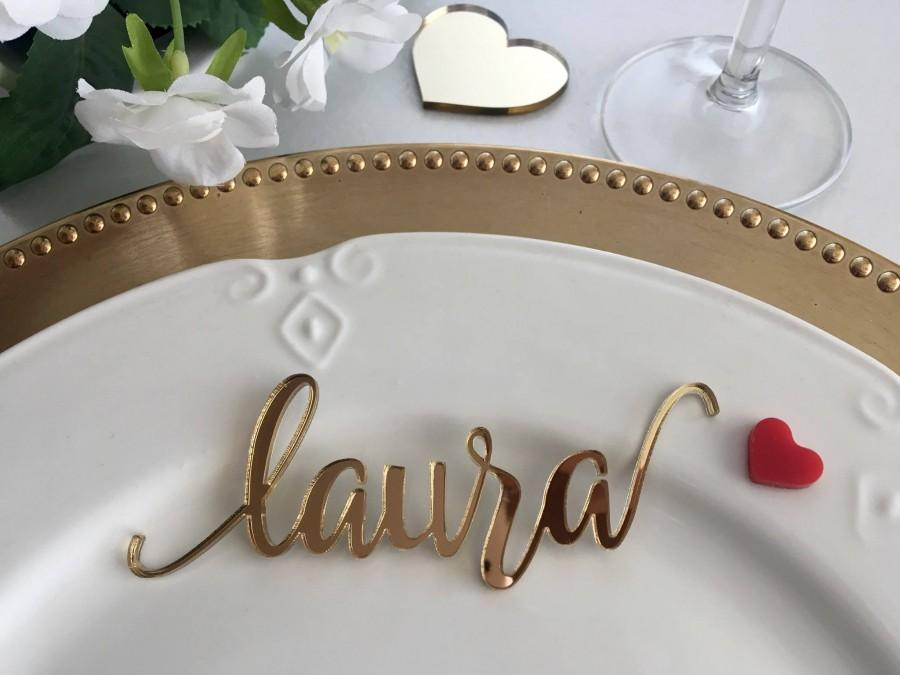 Wedding - Gold Wedding Place Cards Personalized Acrylic Laser Cut Names Place name settings Guest name tags Wedding Signs Calligraphy Modern New Font