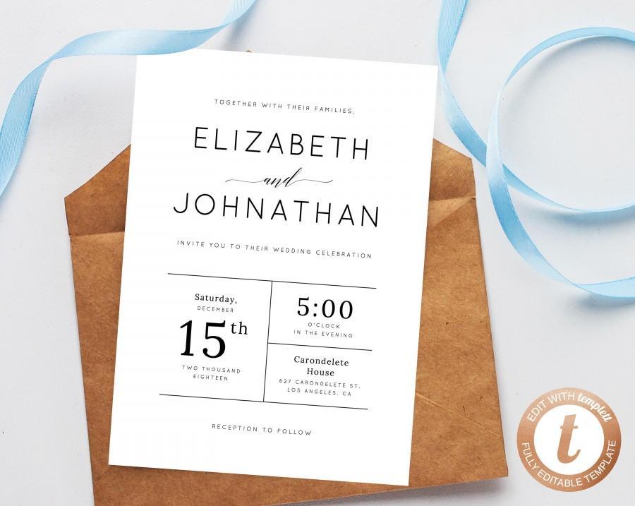 Mariage - INSTANT DOWNLOAD Wedding invitation template, Printable Wedding Invitation Suite, Modern Simple Wedding Invitation Set, Templett, W02