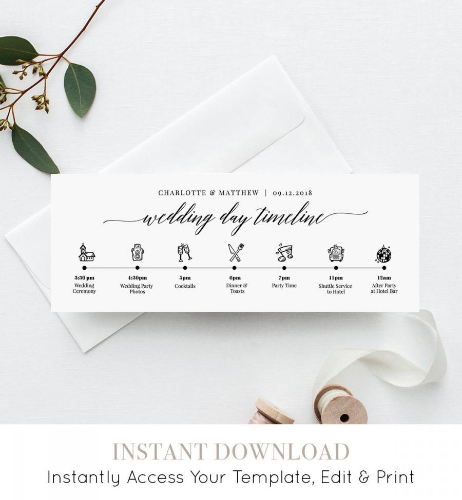 Wedding Schedule Of Events | Wedding Day Timeline Card Itinerary Agenda Schedule Order Of