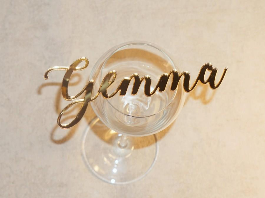 Mariage - Romantic Wedding place cards Gold Acrylic name cards Gold mirror place cards Acrylic laser cut place cards name cards wedding acryl table