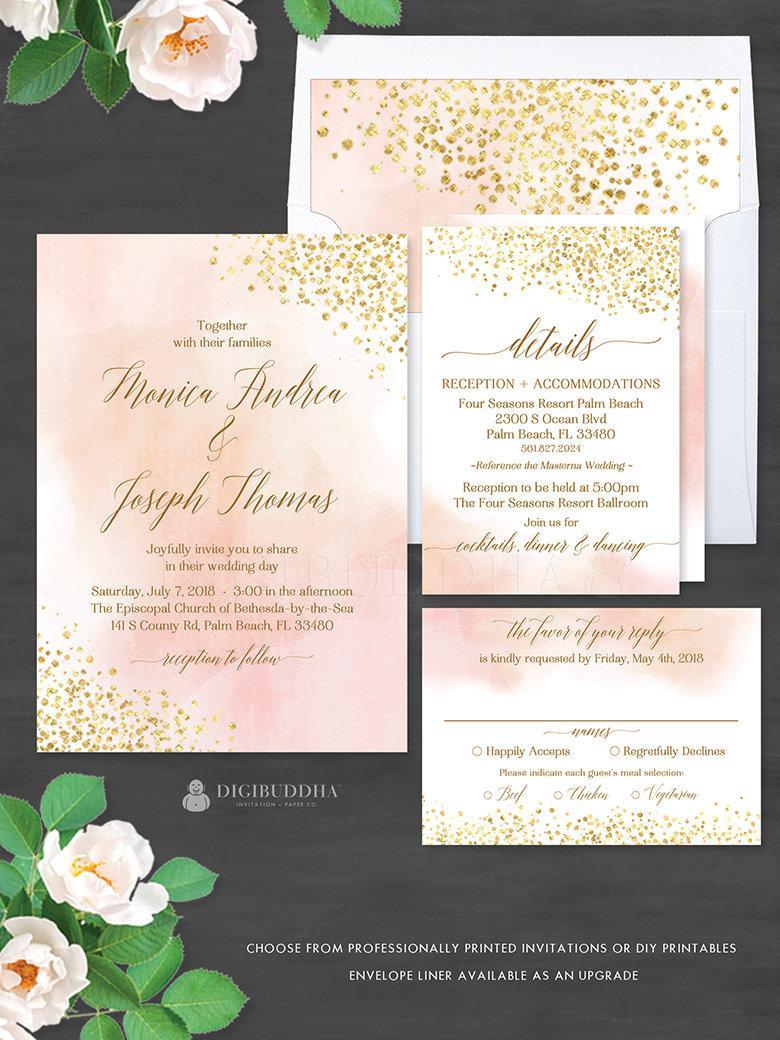زفاف - Blush Watercolor + Gold Foil 3Pc WEDDING SUITE Invitation Set Elegant Wedding Invitation Suite Watercolor Wedding Invites RSVP Set - Monica