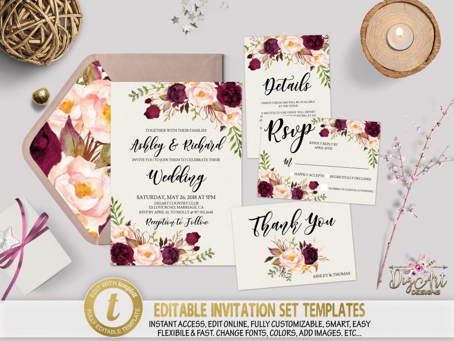زفاف - Printable Floral Wedding Invitation Template Set, Editable Marsala Boho Wedding Invite Burgundy Wedding Template, Instant Download, TEMPLETT