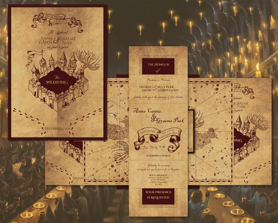 Mariage - Harry Potter Marauder's Map Inspired Wedding Invitation - Invitations, RSVP and Envelope