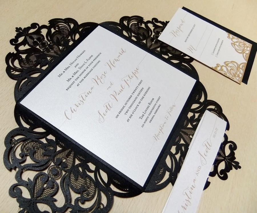Mariage - Laser Cut Wedding Invitation - Black and White Wedding - Gold Wedding Invitaiton Vintage - Lasercut Suite - Bat Mitzvah