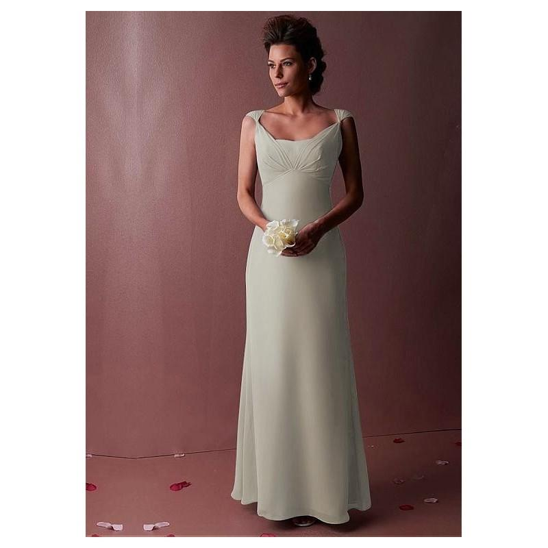 زفاف - Chic Chiffon Scoop Neckline Natural Waistline Floor-length Sheath Bridesmaid Dress - overpinks.com
