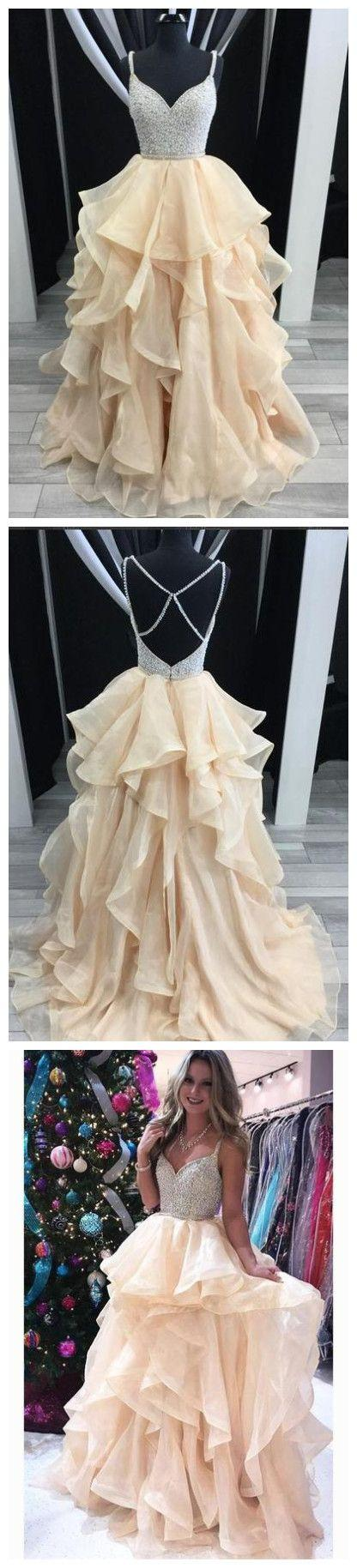 Mariage - 2018 A-line Prom Dresses Spaghetti Straps Beading Long Prom Dress Evening Dresses AMY606
