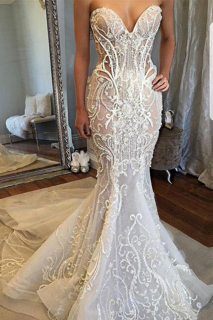 Wedding - Mermaid Sweetheart Court Train Wedding Dress With Lace Beading