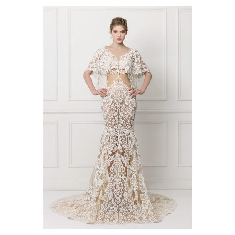 af97a21e859 Maison Yeya 2017 Champagne Chapel Train Vintage V-Neck Mermaid Butterfly  Sleeves Appliques Lace Fall Dress For Bride - Bonny Evening Dresses Online