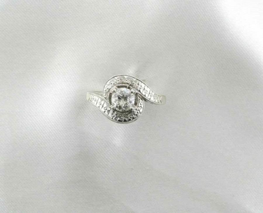 Wedding - Diamond Engagement Ring, Cocktail Ring, Right Hand Ring, Circa 1950's, Old European Cut Diamond Ring, 1/2 Carat Diamond