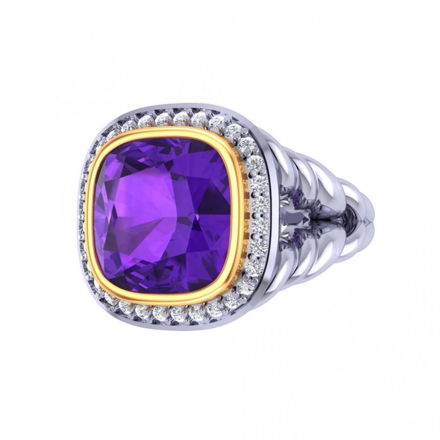 Hochzeit - Sterling Silver Diamond Amethyst Rings, Sterling Silver Gold Rings, Diamond Ring Wide band, Unique Sterling Silver Gold Ring, JewelryNest