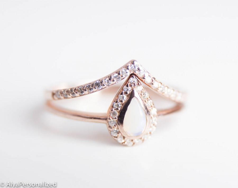 Rose Gold Engagement Ring Set Opal Engagement Ring Rose Gold