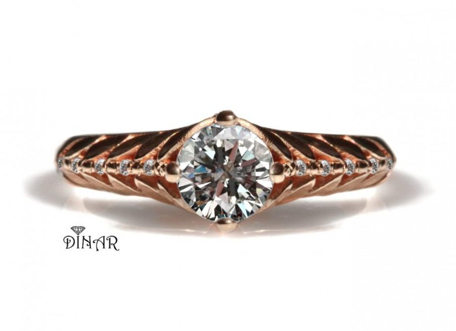 Mariage - Leaves diamond ring, 18k rose gold diamonds engagement ring or right hand ring, diamond accents leaf design , half carat diamond engagement