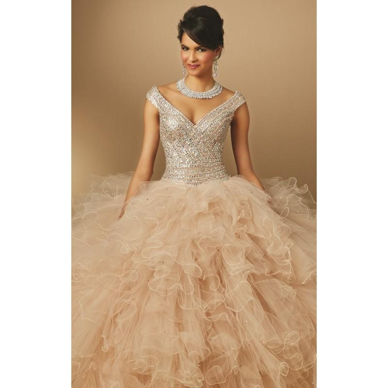 Wedding - Nude Curled Ruffle Ballgown by Vizcaya by Mori Lee - Color Your Classy Wardrobe